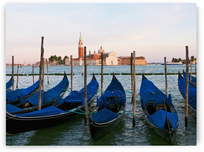 Gondolas on the grand canal by st mark's square (piazza san marco), looking across to isola di san giorgio maggiore;Venice, italy by PacificStock
