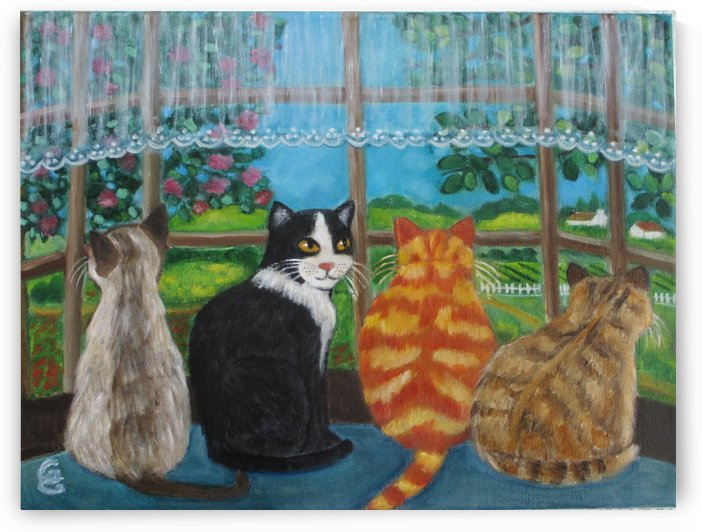 cats in window by Gloria Gill