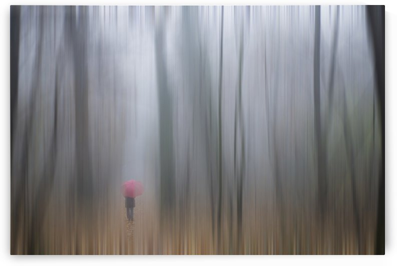 A woman walking with a red umbrella as viewed through a sheer curtain;Ronco sopra ascona ticino switzerland by PacificStock