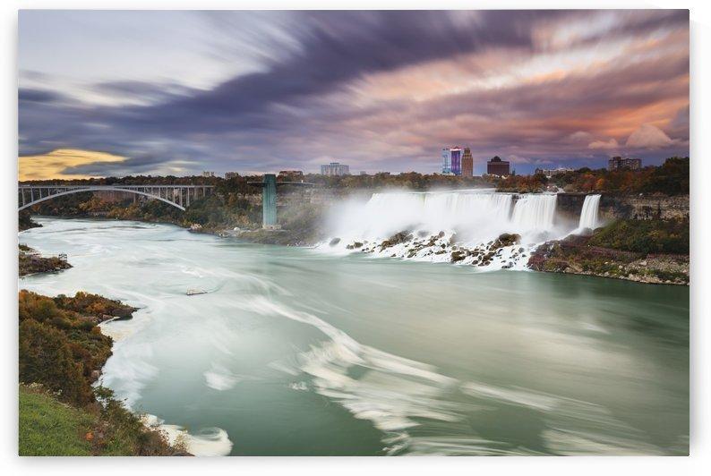 American falls and niagara river at dusk;Niagara falls new york united states of america by PacificStock