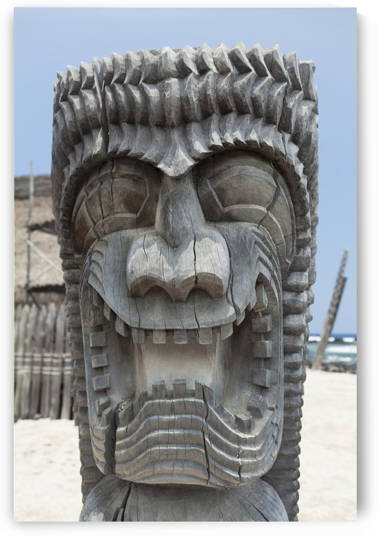 Carving of a face in City of Refuge National Historical Park; Big Island, Hawaii, United States of America by PacificStock