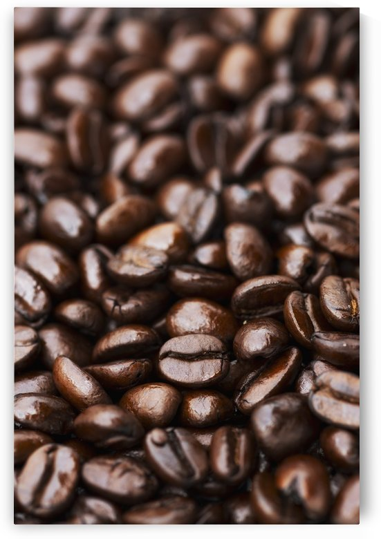 Medium dark roast Kona coffee beans close up; Holualoa, Big Island, Hawaii, United States of America by PacificStock