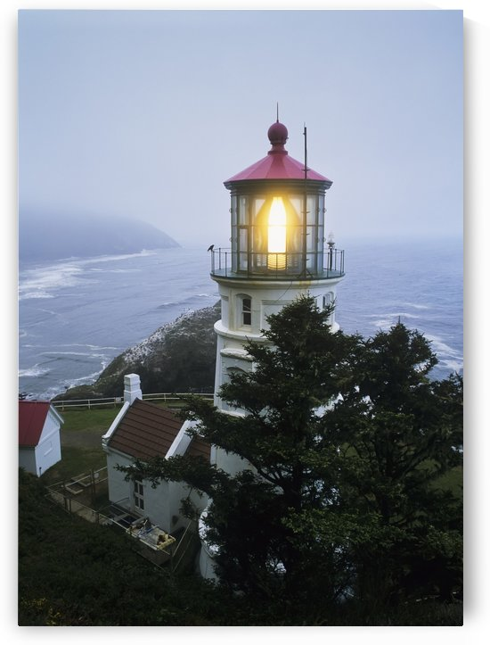 The Heceta Head Lighthouse flashes on a foggy morning; Florence, Oregon, United States of America by PacificStock