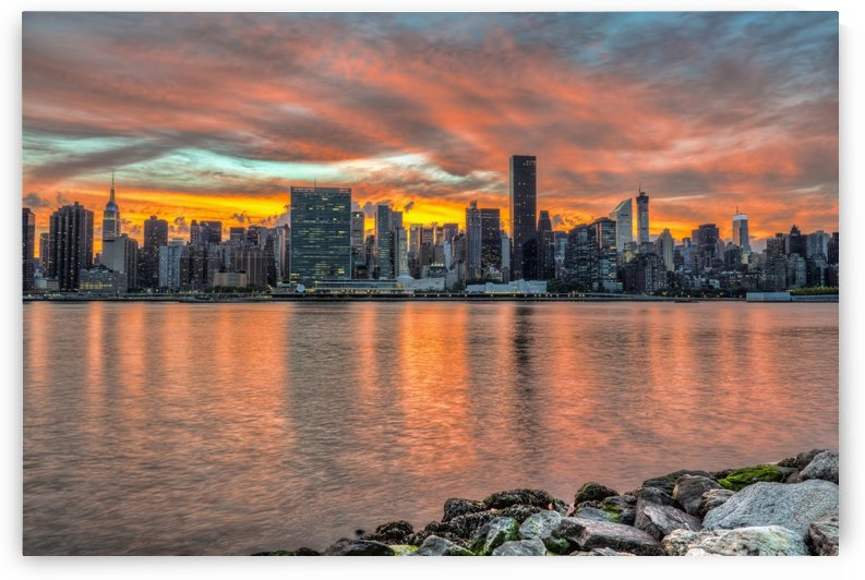 Sunset over Manhattan, Gantry Plaza; Long Island City, New York, United States of America by PacificStock