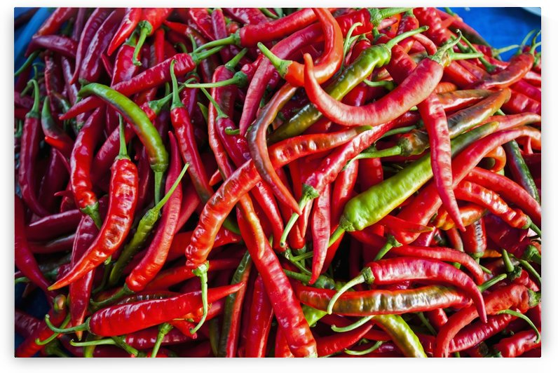 Chillies in local market; Bandar Seri Begawan, Darassalam, Brunei by PacificStock