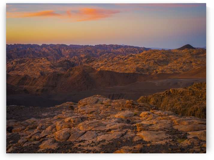 Mountain scene at sunset, near Tabuk; Saudi Arabia by PacificStock