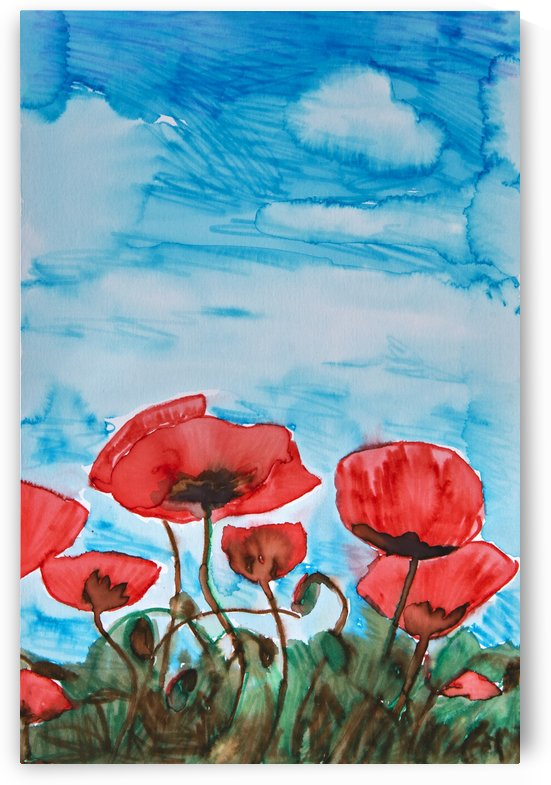 Painting of red poppies and a blue sky by PacificStock
