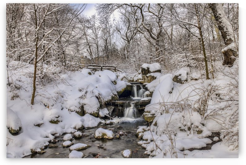 Waterfall under snow-covered rustic bridge, Central Park; New York City, New York, United States of America by PacificStock