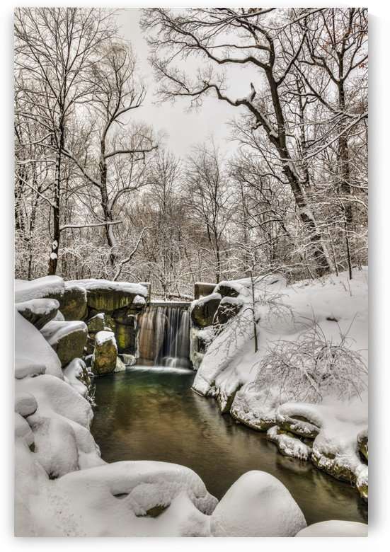 Snow-covered waterfall in The Loch, Central Park; New York City, New York, United States of America by PacificStock