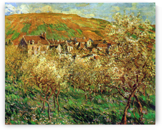Flowering apple trees by Monet by Monet