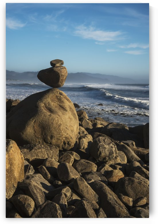 Stones have been balanced on Neahkahnie Beach; Manzanita, Oregon, United States of America by PacificStock