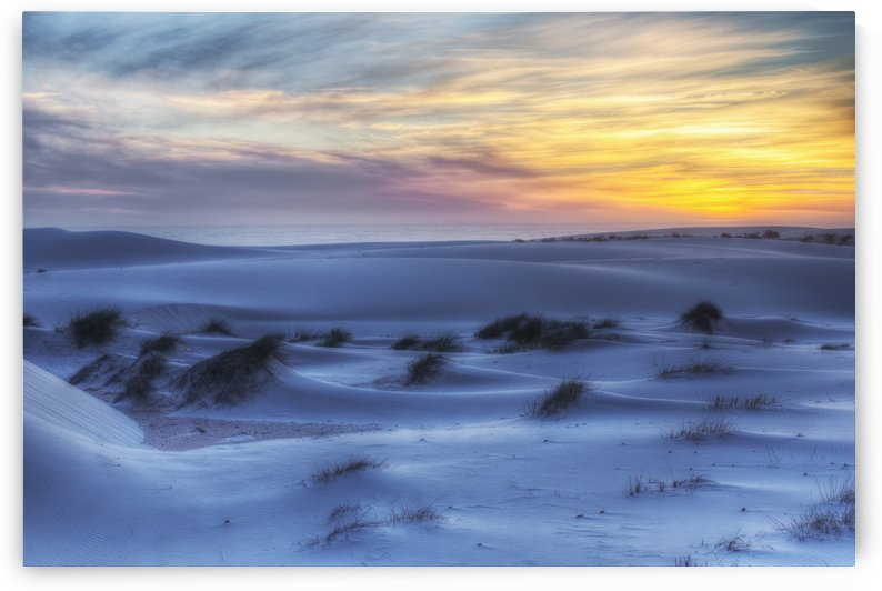 Sunset over the white sand dunes in Namakwaland National Park; South Africa by PacificStock