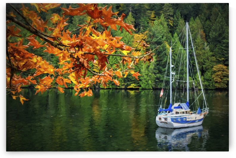 A blue and white sailboat rests at anchor in autumn near Gowlland Tod Provincial Park, on the backside of Butchart Gardens, near Victoria; Vancouver Island, British Columbia, Canada by PacificStock