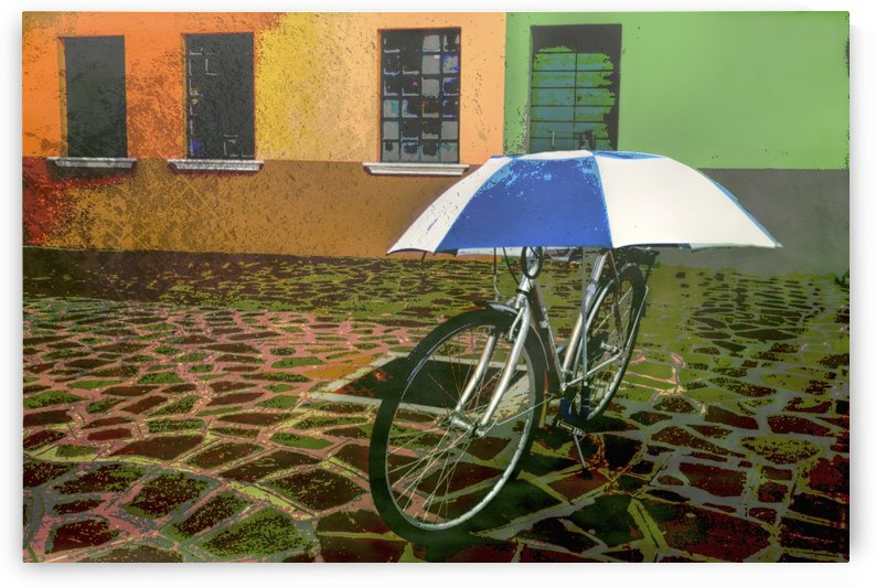 Wall art of bicycle protected by blue and white umbrella in front of colourful buildings on Burano Island on canal in Venice, Italy by PacificStock