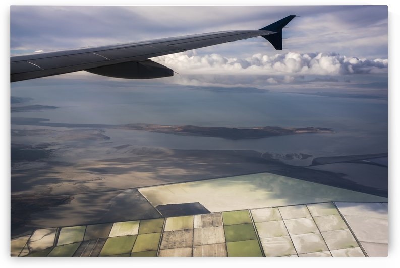 Great Salt Lake viewed from a commercial flight; Salt Lake City, Utah, United States of America by PacificStock