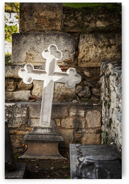 White cross and stone wall, Church of the holy apostles; Athens, Greece by PacificStock