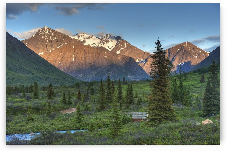 South Fork near Eagle River at sunset on a summer day in South Central Alaska. by PacificStock