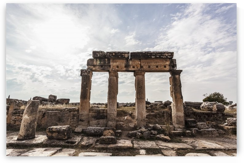 Ruins of columns and lintel along Frontinus street; Pamukkale, Turkey by PacificStock
