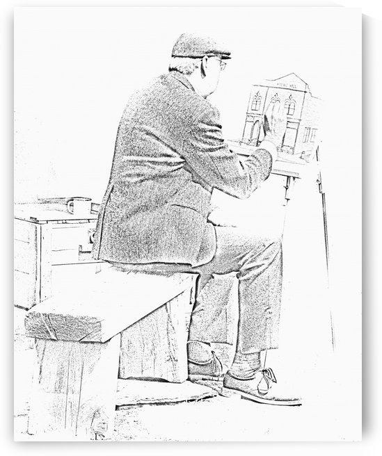 Sketch of old man painting; Alberta, Canada by PacificStock