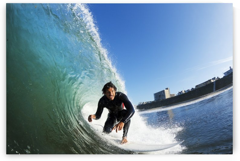 Surfer on Blue Ocean Wave, View from in the Water by PacificStock