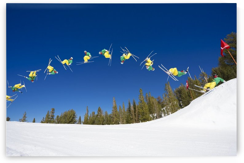 Sequence of Skier doing Radical Back Flip off Jump by PacificStock