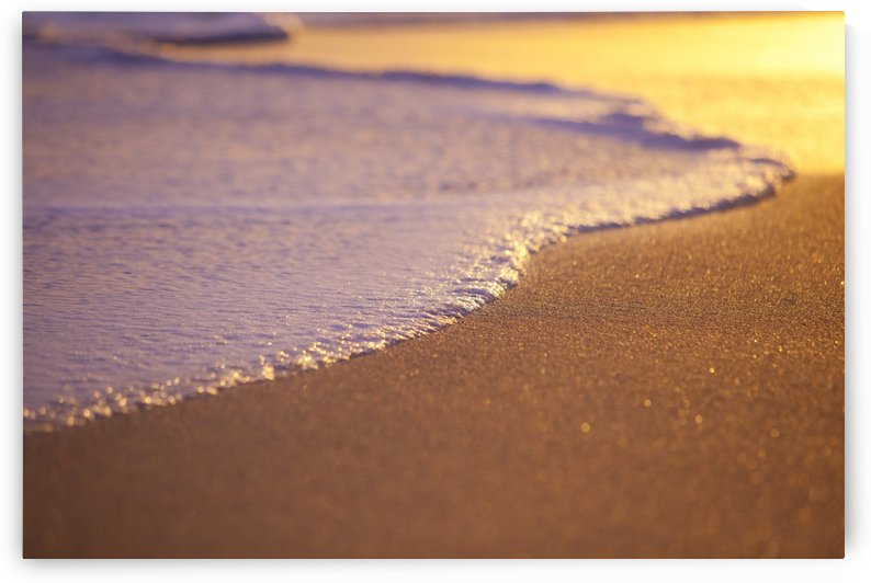 Wave Washing on Sand at Sunset, Shallow Depth of Field by PacificStock