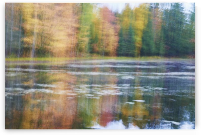 Blurred autumn coloured trees along the shoreline reflected in a tranquil river; Ontario, Canada by PacificStock