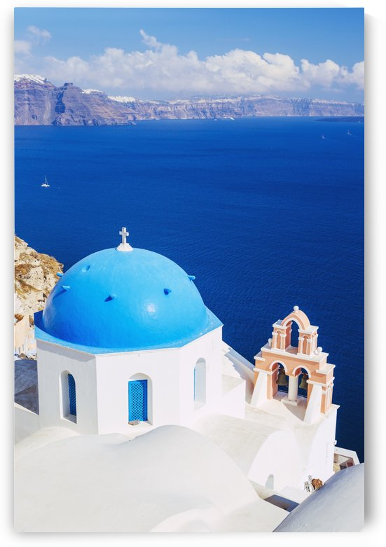 Church Bell Tower above Blue Sea, Santorini Island, Greece by PacificStock