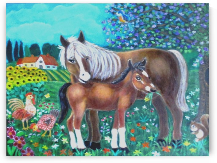A mare and her foal. by Gloria Gill