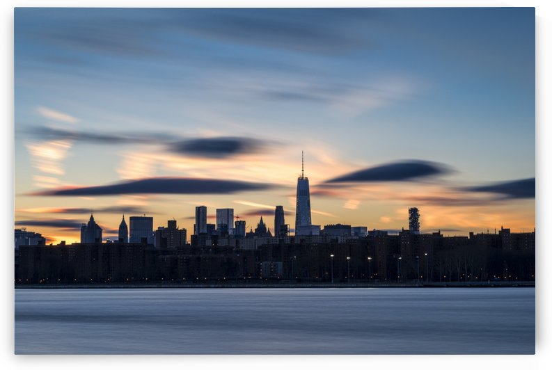 Sunset over Lower Manhattan and World Trade Center; New York City, New York, United States of America by PacificStock