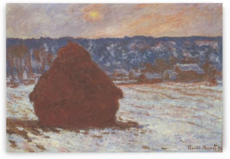 Haystacks, snow, covered the sky by Monet by Monet