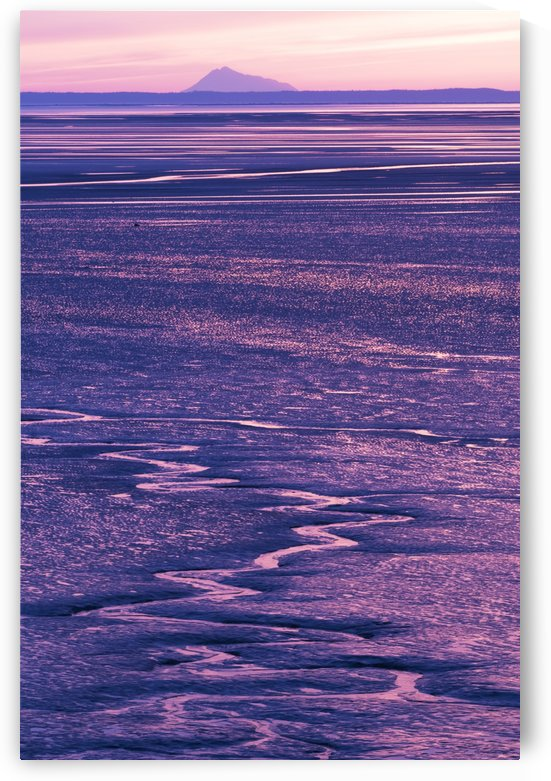Colorful pink and purple sunset along Turnagain Arm at low tide with Mt. Redoubt in the background, Southcentral Alaska, spring  by PacificStock