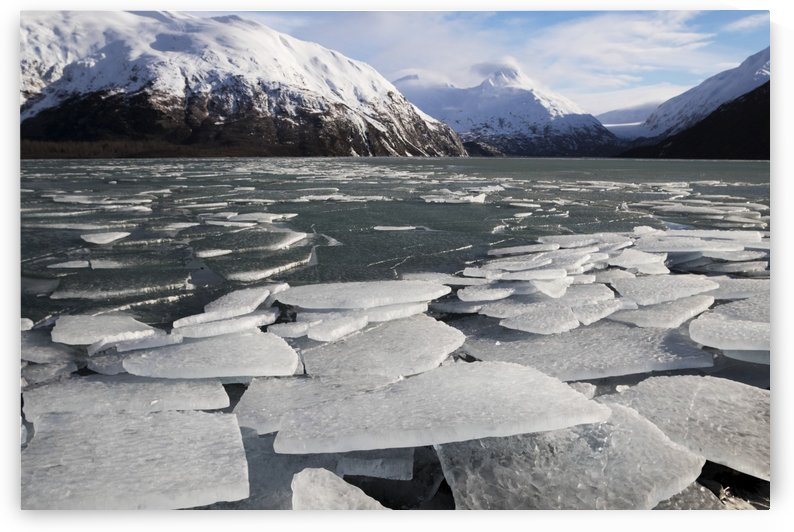 Ice breakup at Portage Lake in the Portage Valley of South-central Alaska in winter; Alaska, United States of America by PacificStock