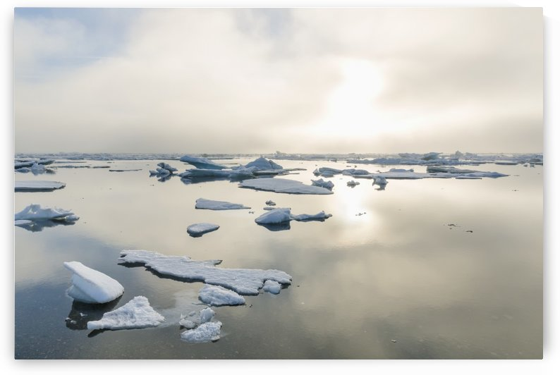 A foggy sunset over the Arctic Ocean illuminates icebergs on a partly clear and calm evening; Barrow, North Slope, Alaska, United States of America by PacificStock
