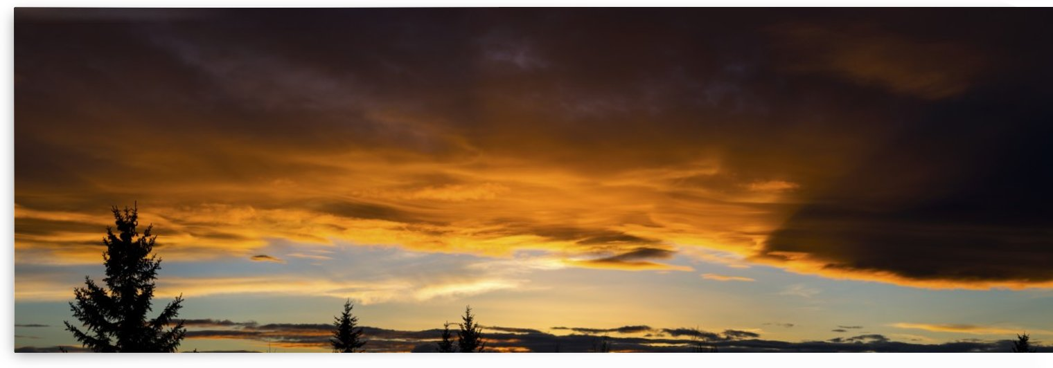 Panorama of colourful dramatic chinook arc cloud at sunset; Calgary, Alberta, Canada by PacificStock