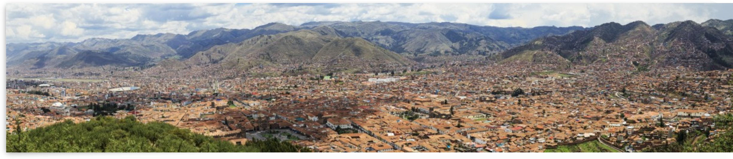 Cusco, Peruvian city panorama from Saksaywaman with airport and soccer stadium on left; Cusco, Peru by PacificStock