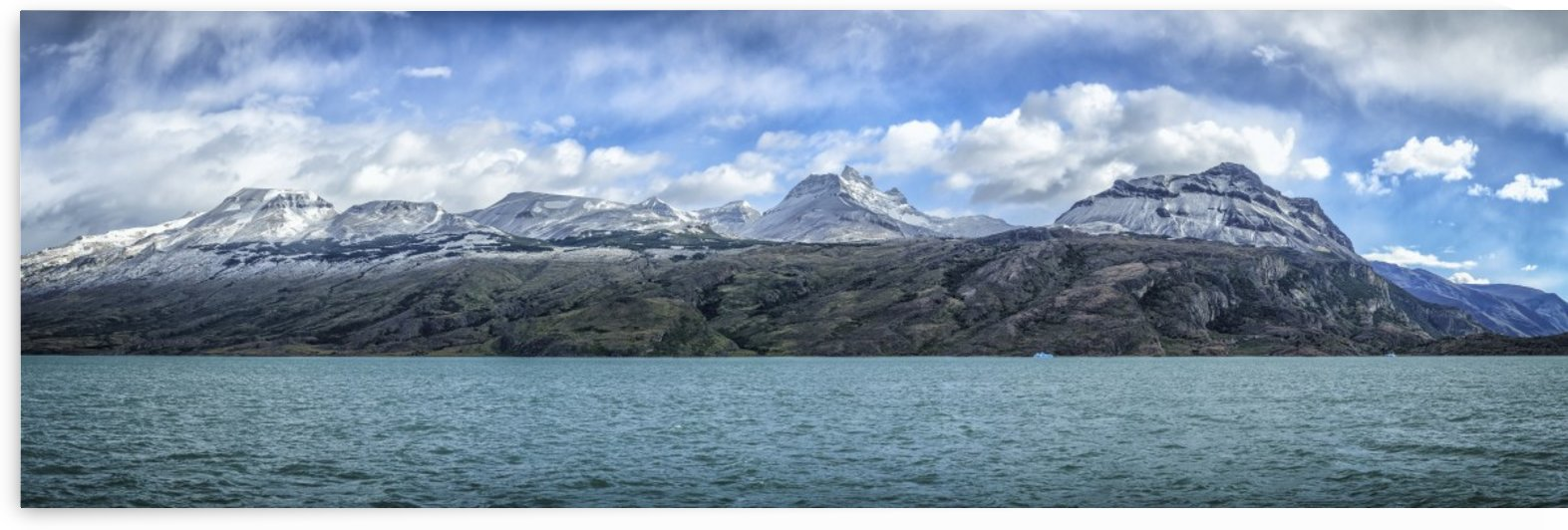 Snow capped mountains off North Branch of Lago Argentino in Patagonia; Santa Cruz Province, Argentina by PacificStock