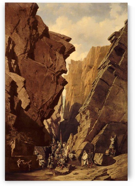 Army passing through the cliffs by Adrien Dauzats