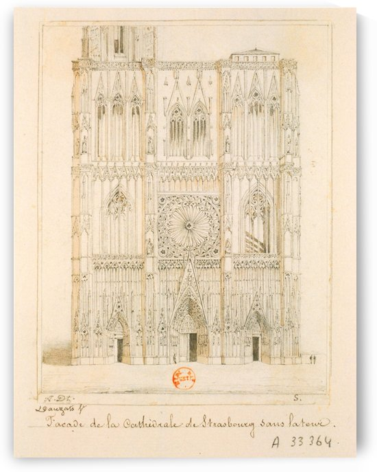 Facade de la cathedrale de Strasbourg by Adrien Dauzats