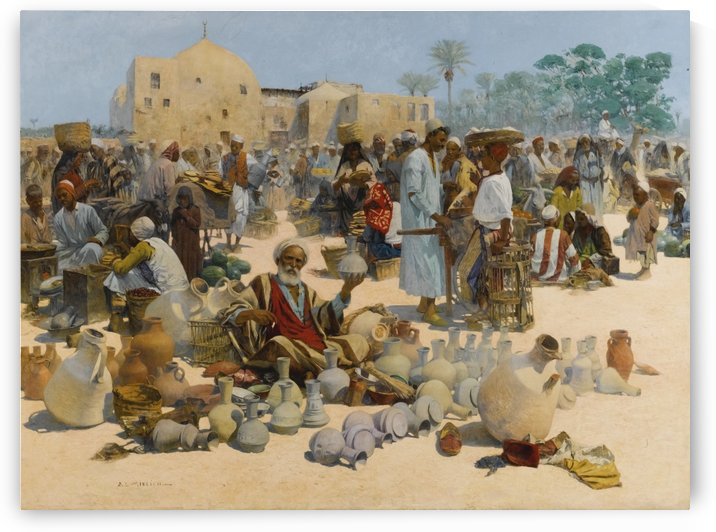 A busy day in the market by Leopold Alphons Mielich