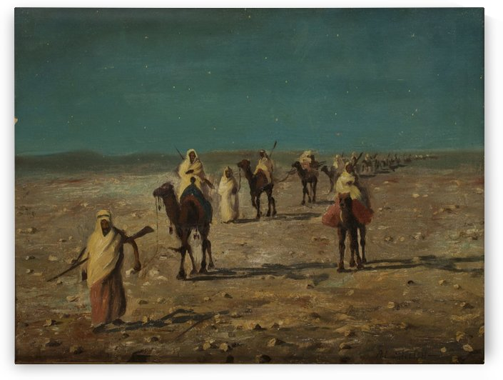 Caravan through the dessert by Leopold Alphons Mielich