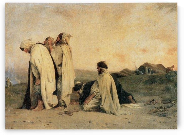 Arab men praying by Eugene Fromentin