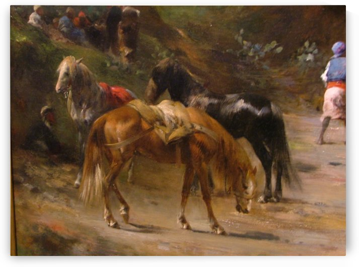 Men and horses resting by Eugene Fromentin