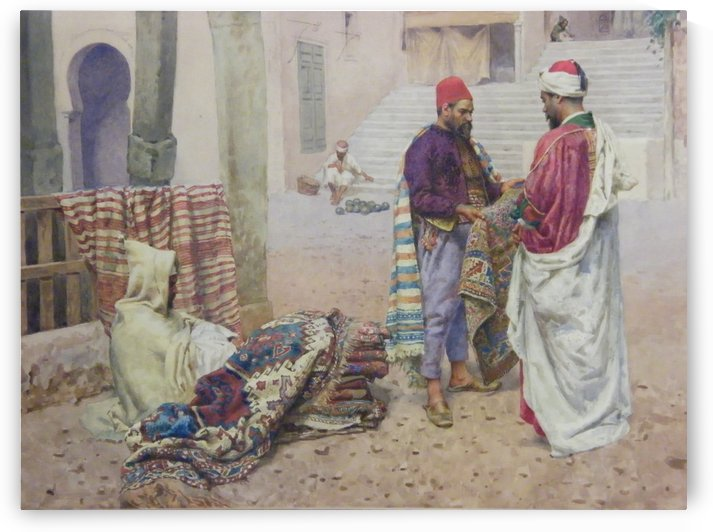 Selling carpets in the market by Giulio Rosati