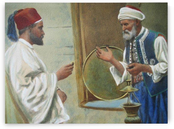Two arab men chatting by Giulio Rosati