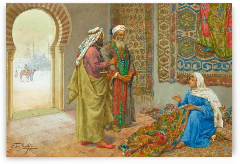 A Moorish carpet merchant by Giulio Rosati