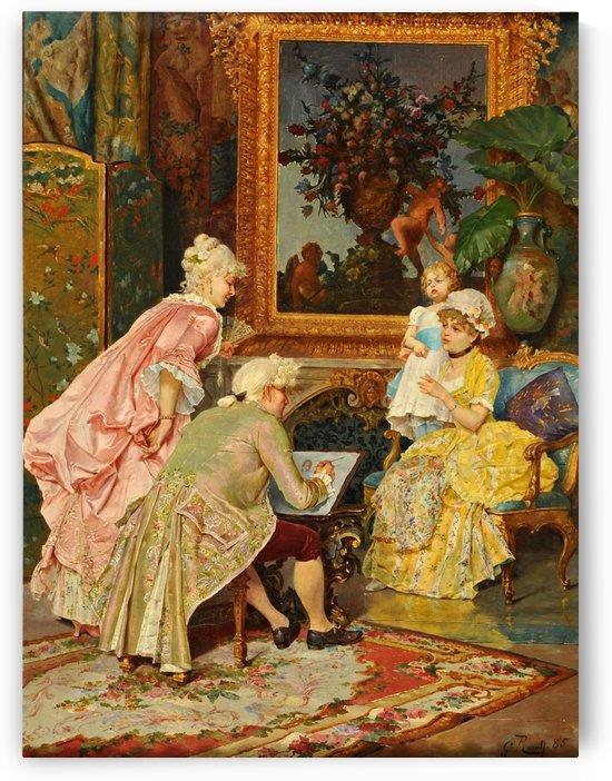 Sitting for the portrait by Giulio Rosati