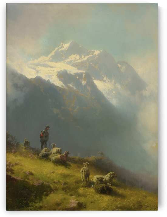 A shepherd with his flock by Hermann Ottomar Herzog