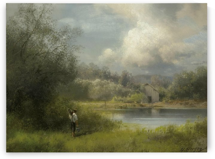 On the way to the fishing hole by Hermann Ottomar Herzog