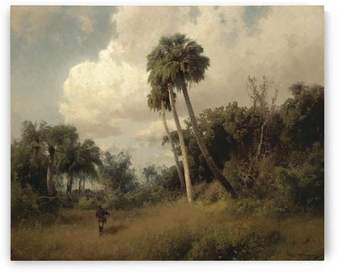 A hunter among windswept palms and passing clouds by Hermann Ottomar Herzog